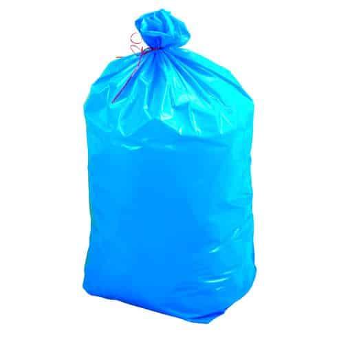 Distribution de sacs bleus et translucides